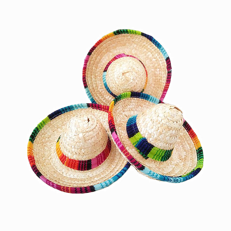 NEW-10Pcs Natural Straw Mexican Hat Mini Sombrero Baby Shower Birthday Party Decoration Tabletop Party Supplies