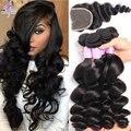 8А Норка Перуанский Девственные Волосы С Закрытием Али мода Волосы Перуанской свободная Волна С Закрытием Человеческих Волос Weave 4 Связки С Закрытием