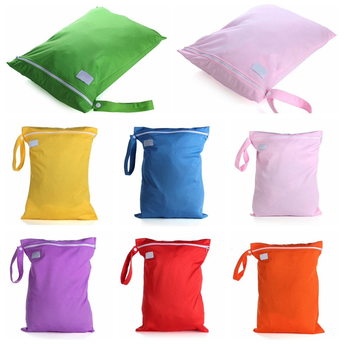2pcs/lot Fabric + PUL Membrane Waterproof Baby Infant Cloth Diaper Wet/Dry Zipper Bag Washable Reusable Diaper Bags 29cm*35cm ...
