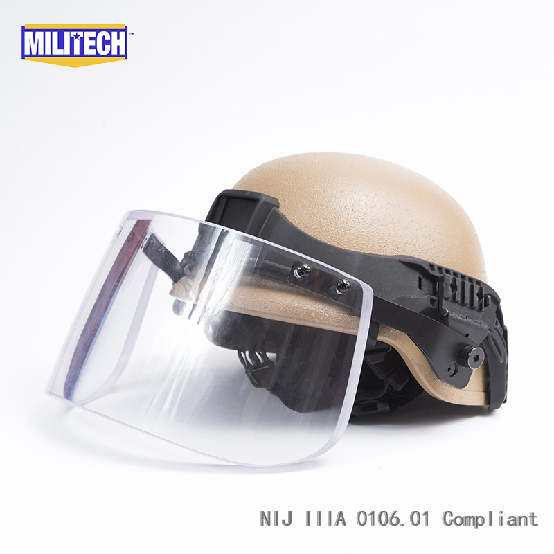 Militech CB Color PASGT Full Cut Tactical Ballistic Helmet With Visor Shield Face Protection Set Deal Kevlar Bullet Proof Helmet
