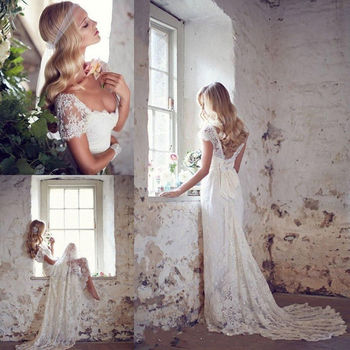 Sexy a Line Cap Sleeve Lace Wedding Dress Beach Bridal Gown White Ivory Custom Size 2 4 6 8 10 12 14 16