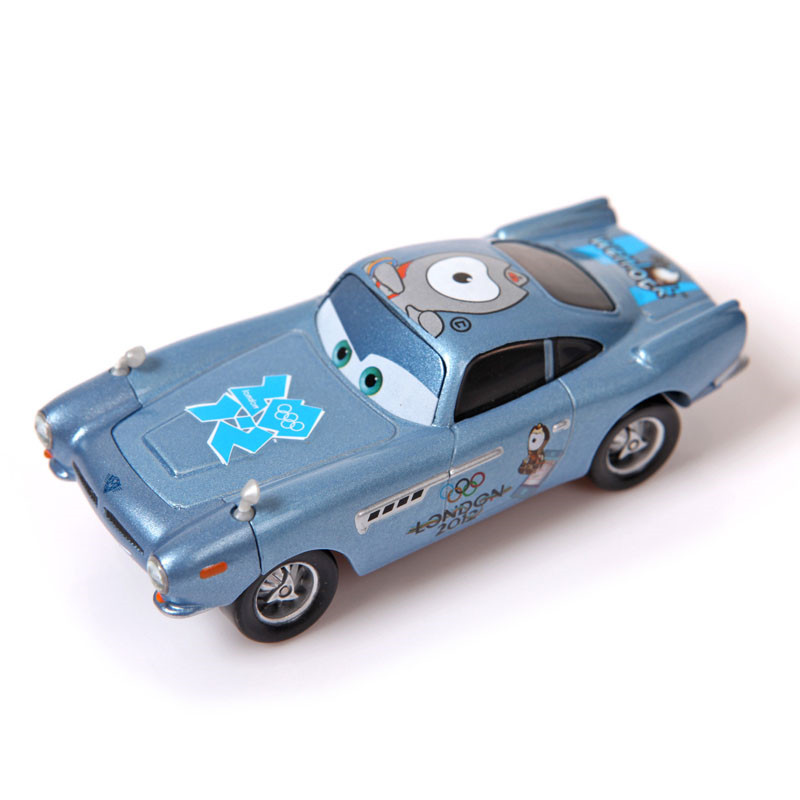 pixar cars 2 100 original finn mcmissile 155 diecast alloy metal car toy blue paralympic emblem alloy car model for kid