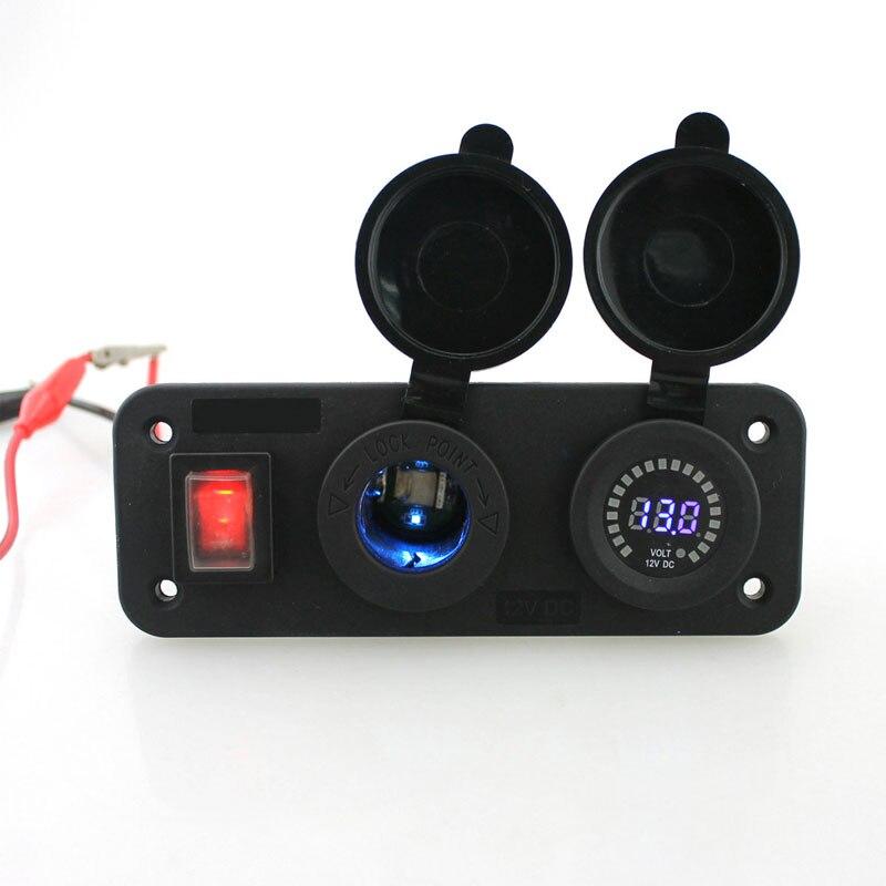 Waterproof Car Motorcycle Cigarette Lighter Socket & Voltmeter digital 12V LED Digital Voltmeter Electric Car Voltage Meter