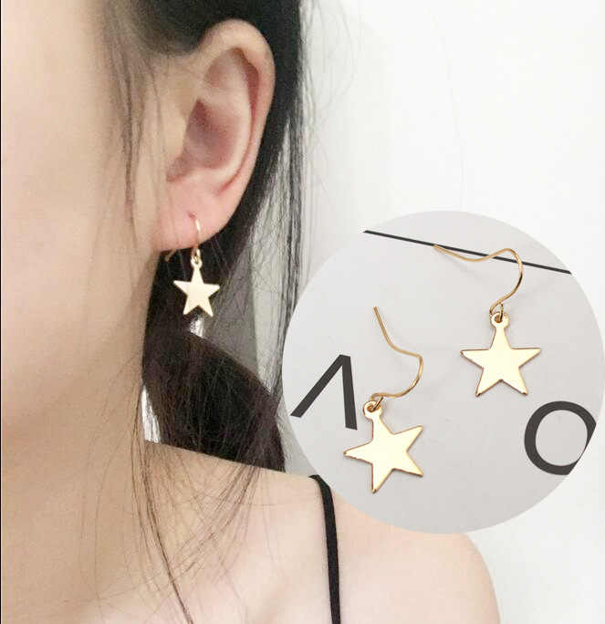 Fashion Personality Simple Five-pointed Star Earrings Female Accessories Wholesale Stars Geometric Earrings Jewelry Orecchini