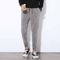 Autumn New Arrival Corduroy Pants Men Tie Casual Jogger Pants Drawstring Thicken Skinny Trousers Khaki Black