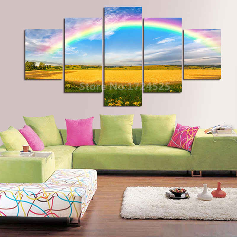 2017 Limited Real The Colours Rainbow 5pcs HD Toprated Canvas Painting For Living Room Wall Art Picture Home Decoration Unframed