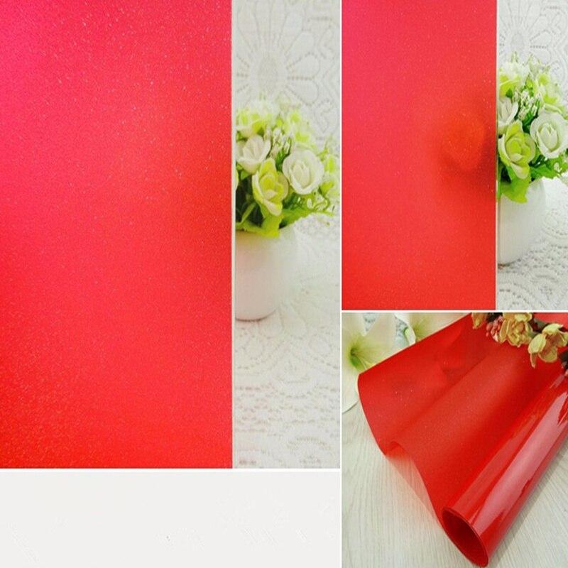 152 cm * 500 cm Rouge Décoratif Window Film Confidentialité Fenêtre Teinte Verre Autocollant Teinte Solaire Maison Décor Non réfléchissant 60 ''x 196.8''