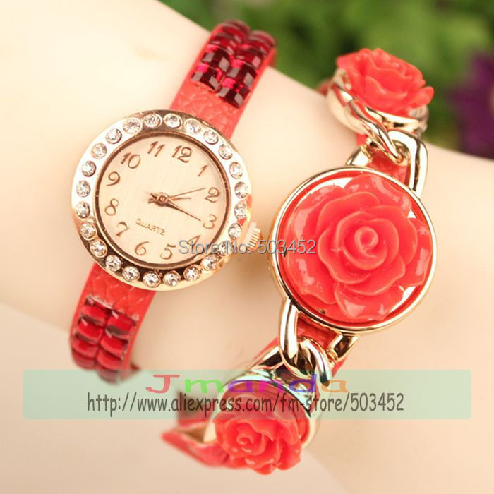 Quartz Watches Objective 100pcs/lotnew Stylish Rhinestone Rose Flower Synthetic Leather Watch Sparkling Quartz Wrist Watch Woman Dress Watch Casual Watch