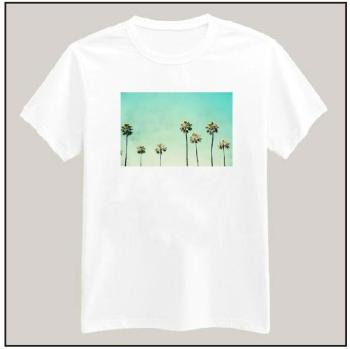 Palm Trees Print Tshirt For Women Cotton Casual Shirt White Top Tees Big Size S-XXXL Drop Ship TZ152-445