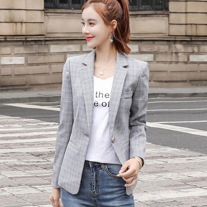 Office Ladies Vintage Plaid Blazer Mujer Women Plus Size Slim Blazer Feminino OL Style Long Sleeve Coats Korean Fashion Jackets jeans con blazer mujer