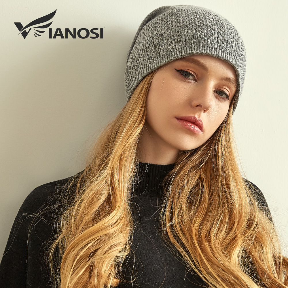VIANOSI Winter Knitted Wool Hat For Women Warm Casual Beanie Caps Winter  Brand Gorros Mujer Invierno 7c3f677f2f3