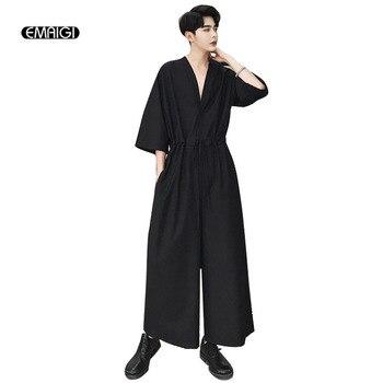 Men Short Sleeve V-neck Casual Jumpsuit Wide Leg Pant Male Japan Street Harem Pants Overalls Jumpsuit Hip Hop Trousers