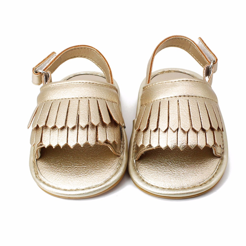 Delebao 5 Colors Multi-layer Fringe Baby Shoes Hook & Loop Hook & Loop Sole Infant Toddler Baby Girl Sandals For 0-18 Month