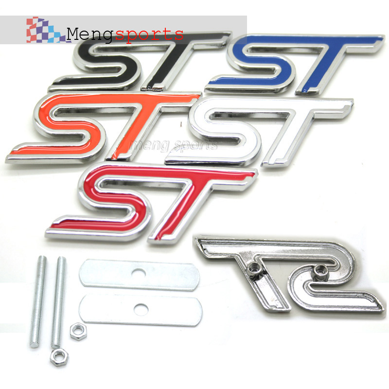 100 Sets 3D Metal Yellow Red Blue White Black Orange grill Emblem Badges Sticker Car Styling Auto accessories DHL shipping