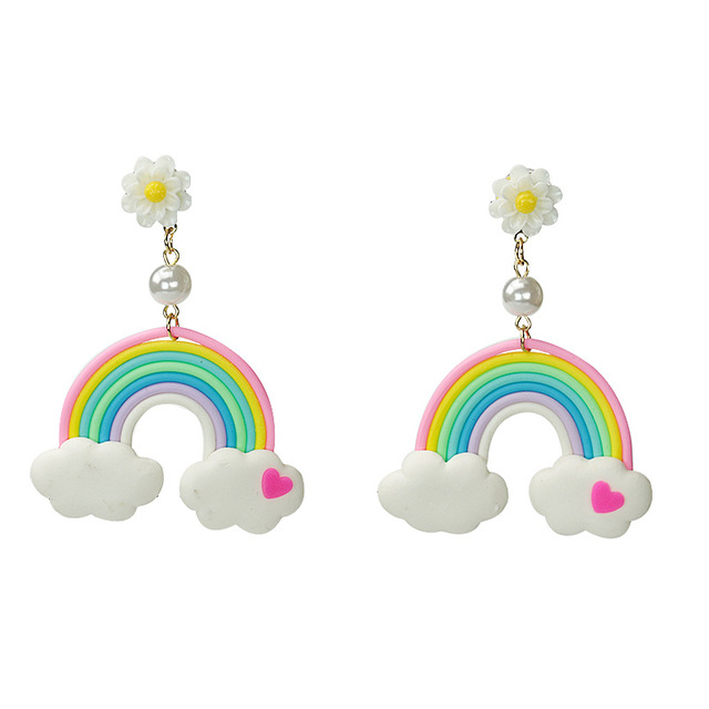 Fashion Personality Cute Sweety S Rainbow Earrings Daisy Flower With Pearl Earring Female Cartoon Cloud