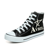 The Avril Lavigne Shoes Flat Casual Shoes Hand Painted Canvas Shoes for Women Black High Top Sneakers Popular Graffiti Shoes
