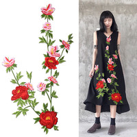 AHYONNIEX Brand Large Peony Flower Embroidered Sew on Patches for Clothing Large Floral Patches DIY Sticker for Wedding Dress