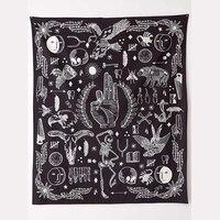 הדוב עלה שטיח קיר תלוי המנדלה נשר Cilected בסדר עיצוב חדש שחור לבן רקע האופנה Boho אמנות גובלן 148x200 ס
