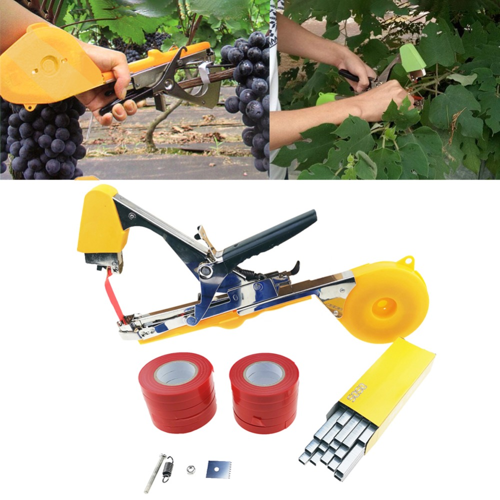 Tying Machine Garden Plant Tapetool Tapener with 10 Rolls Tape Set and 1Box Nail for Vegetable Grape Tomato Pruning Tools-in Pruning Tools from Tools