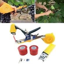 Tying machine jardim planta tapetool fita, com 10 rolos de fita e 1 caixa de unhas para poda de vegetais gráfico de tomate ferramentas,