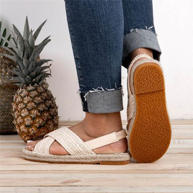 GlintLife | Breaded straw flat sandals | For feet beauty