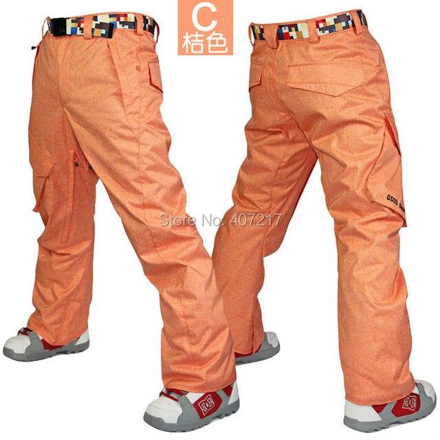 87731422b8a 2016 mens orange ski pants gray skiing snowboarding pants for men blue snow  pants blue waterproof 10K windproof free ship
