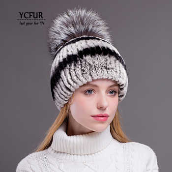 YCFUR Women Winter Warm Hats Caps Handmade Stripes Real Rex Rabbit Fur Hat Cap With Fox Fur Pom Hats Beanies Female - DISCOUNT ITEM  36% OFF All Category