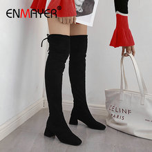 ENMAYER Stretch Lycra Over The Knee High Boots Flock Women Boots Square Slip-On Round Toe Heel Winter Women Shoes Size 34-43