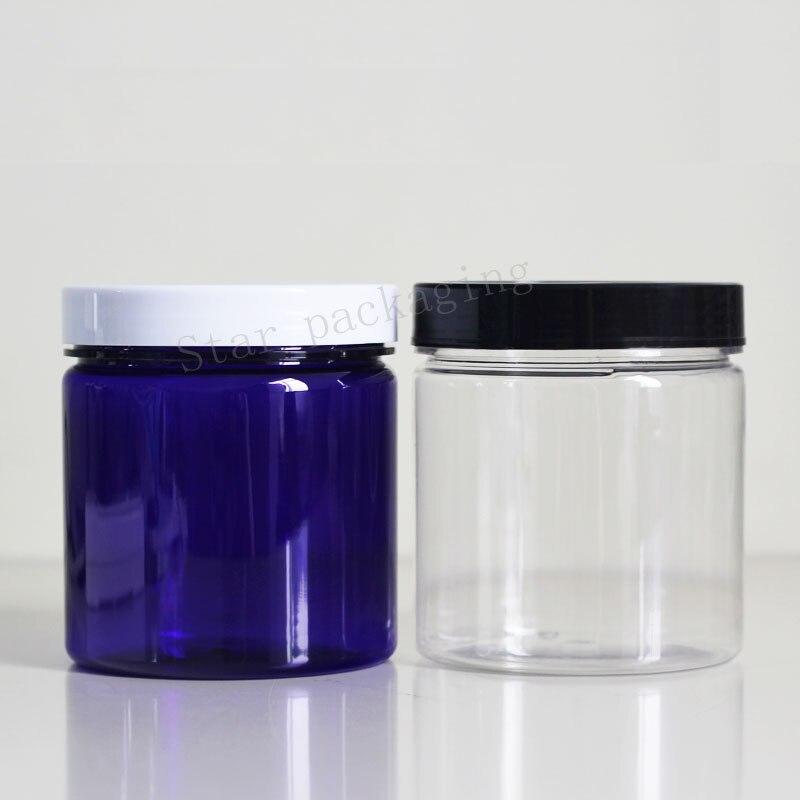 Güzellik ve Sağlık'ten Doldurulabilir Şişeler'de 16 adet 500 ml boş şeffaf yuvarlak plastik ekran pot temizle kozmetik krem kavanoz balsam kabı Mini örnek konteyner ambalaj'da  Grup 1