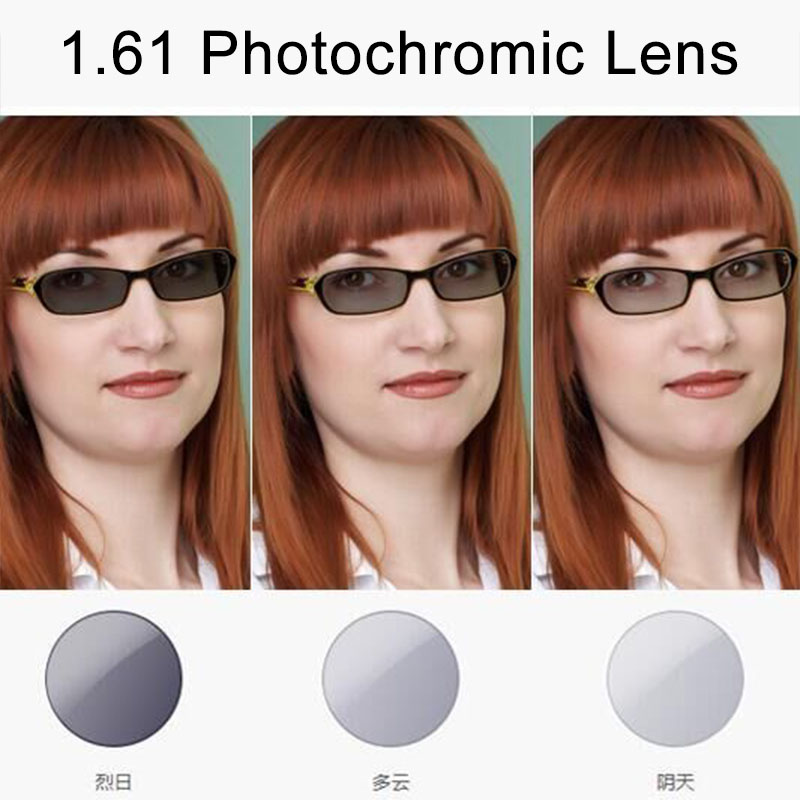 1.61 MR-8 A-grade Photochromic Gray Brown Optical Lenses For Myopia Hyperopia Reading Glasses Sunglases Single Vison Lens