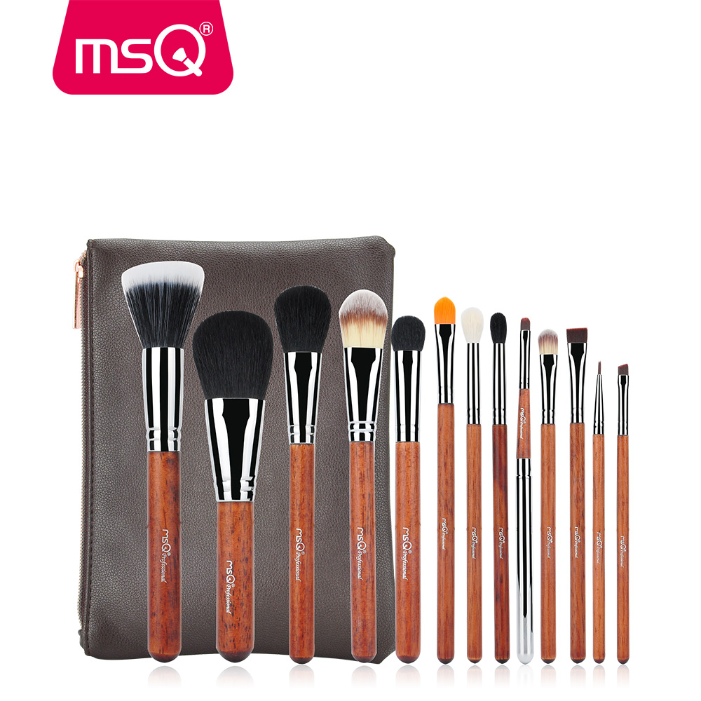 MSQ 13Pcs Professional Makeup Brushes Set Power Foundation Eye Shadow Blush Blending Make Up Beauty Cosmetic Tools Kits Hot 10 pcs crystal professional makeup brushes set beauty power blush flame angle shadow comestic makeup tools