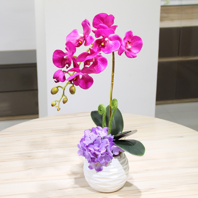 Top Quality Touch Butterfly orchid Potted set Artificial Hydrangea Silk flowers bonsai plants pot culture wedding Home Decor in Artificial Dried Flowers from Home Garden