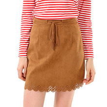 Women office short skirts High Waist Suede Leather Yellow Skirts Autumn lace up suede A line skirt Spring hollow out party skirt yellow suede studded mini skirt
