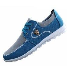 Новый Летний Бренд Холст Обувь Повседневная мужская Плоская Обувь Соответствующие Плоские Упражнения Обувь Мужчины Удобные Теннис Размер Лодка Обуви 39-44