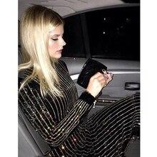 Party Hot DrillingWomen Bling Long Sleeve Dress Work Office Evening Mid Calf Dress Black Vent Vestidos Casual Dresses  XXL