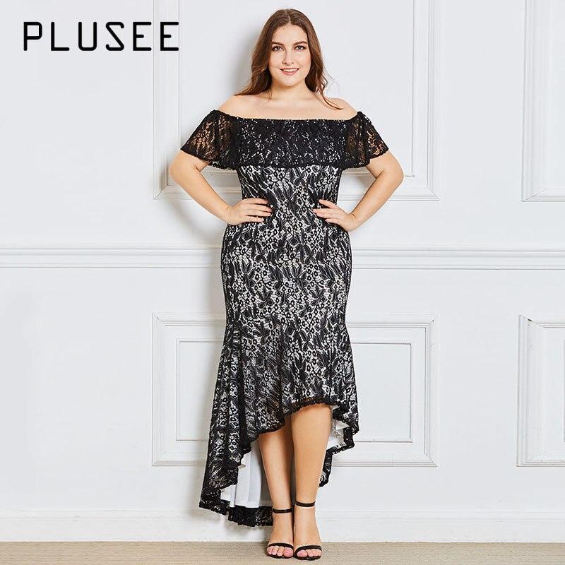 Plusee Dress Plus Size 3XL 4XL Women  Autumn Asymmetrical Solid Slash Neck  Zipper  Hollow Patchwork Lace  Plain Plus Size Dress