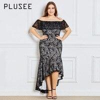 Plusee Dress Plus Size 3XL 4XL Women Autumn Asymmetrical Solid Slash Neck Zipper Hollow Patchwork Lace