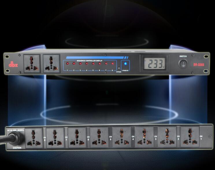 Prise de courant 110 V-230 V DBX SR328V 10 scène professionnelle de route rencontrant le contrôleur d'alimentation adaptateur universel avec affichage