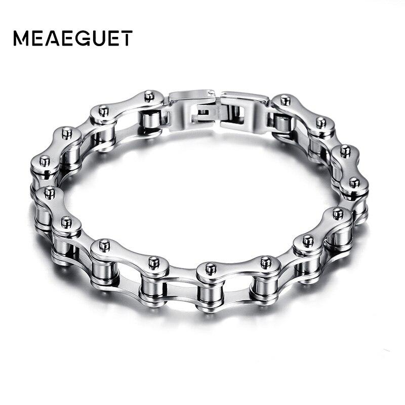 Meaeguet Fashion Stainless Steel Bike Bracelet Men Biker Bicycle Motorcycle Chain Bracelets Bangles Jewelry opk biker stainless steel men bracelet