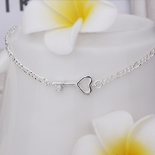 New Arrival Wholesale Cheap Small key Anklets Silver plated Fashion Jewelry Personality Gift SMTA024