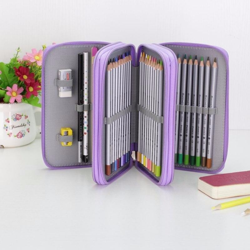Oxford Caixa de Lápis de Escola Kawaii 36/48/72 Buracos Pena Pencilcase Grande Saco de Caneta Caixa de Multi Crianças Multifuncionais bolsa de artigos de papelaria