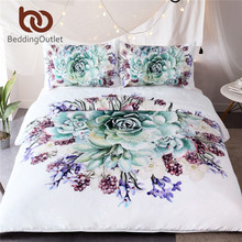 BeddingOutlet Green Succulents 3D Bedding Sets Duvet Cover Set Flower Plant Printed 3pcs Floral Bed Cover King Size Home