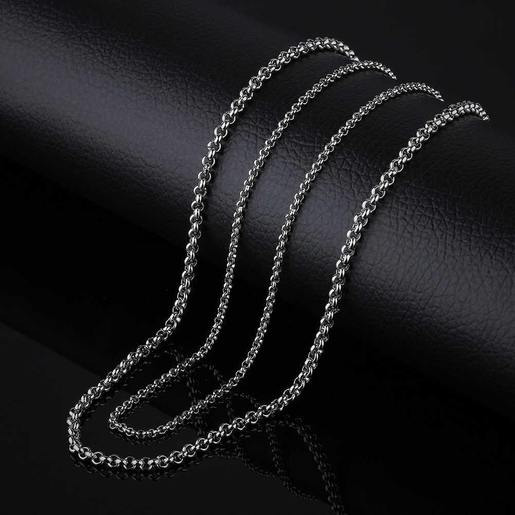 PIXNOR 3mm גברים של טיטניום פלדת שרשרת עדין כסף שרשרת שרשראות לגבר צוואר קישוט 55cm 60cm