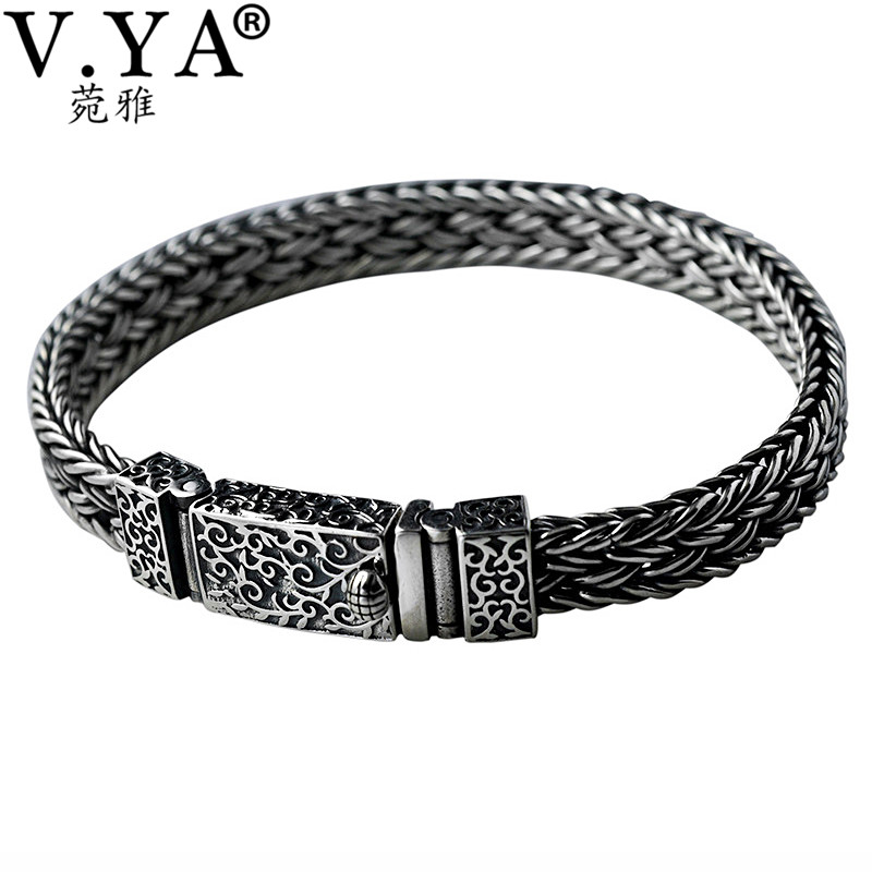 V.YA Cool 925 Sterling Silver Wide Heavy Bracelets for Men Weave Design Male Bracelet Thai Silver Jewelry 21cm 22cm Hot Sale hot sale geometric rivet design wide faux leather bracelet for men and women