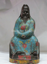 "WBY bi00776 7""Chinese Bronze Cloisonne enamel blue clothes Lotus pier Guan Gong Statue(China)"