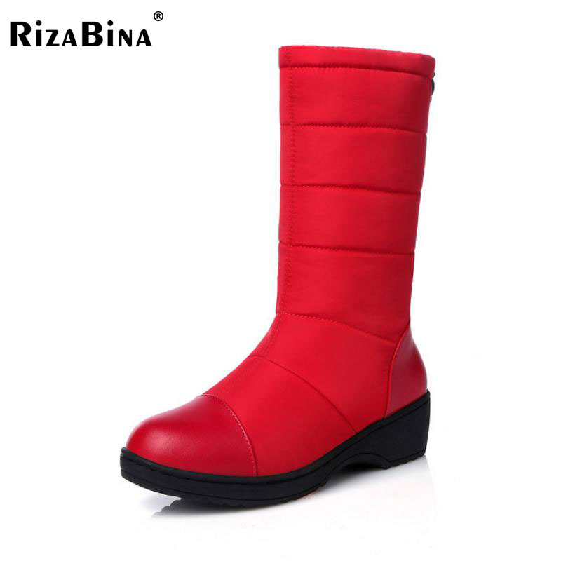 RizaBina Size 35-40 Women Thick Fur Inside Mid Calf Snow Boots Women Med Heel Half Short Winter Boots Women Cold Winter Shoes stylish women s mid calf boots with solid color and fringe design