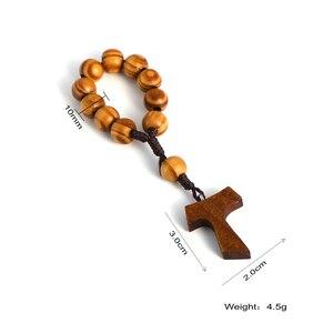 Image 5 - Komi 10mm Wooden Beads Rosary Finger Chain Prayer Bracelet 11pc Beads Bracelets Handmade Religious Jewelry R 070