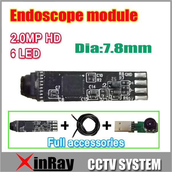 Mais novo HD 2.0MP Mini 7.8mm Módulo para DIY1600 * 1200 Câmera De Inspeção USB Endoscópio 6 LED Acessórios completos como presente XR-IC2MHD