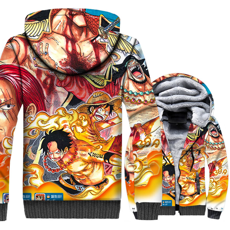 Anime One Piece Portgas.D.Ace 3D Hoodie Men Luffy Brother Sweatshirt Winter Thick Fleece Harajuku Jacket The Pirate King Coat