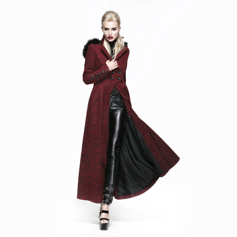 Gothic Long Red Thick Wool Trench Coat with Fur Hood Women Female ...